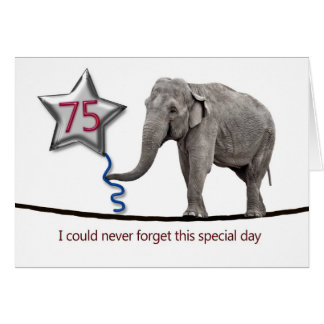 75th Birthday card with tightrope walking elephant