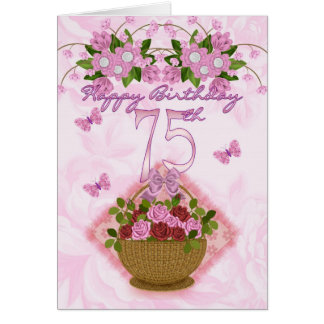 75th Birthday Special Lady Roses And Flowers - 75 Greeting Cards