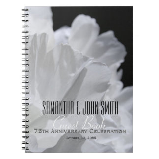 75th Wedding Anniversary Party Peony Guest Book 2 Note Book