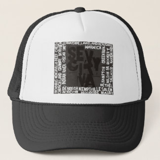 7 City Districts - Black/White Logo Trucker Hat