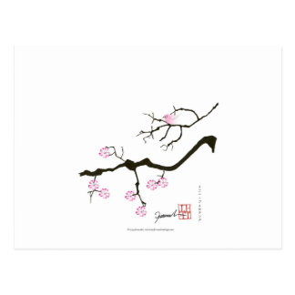 7 sakura blossoms with pink bird, tony fernandes postcard