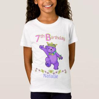 7th Birthday Bear Princess, Custom Name T-Shirt