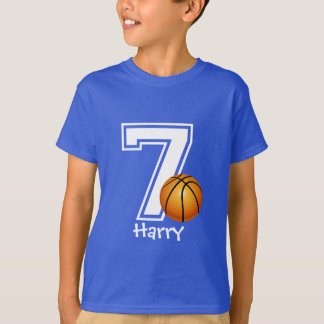 7th Birthday boy basketball personalized-2 T-Shirt