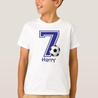 7th Birthday boy soccer personalized T-Shirt