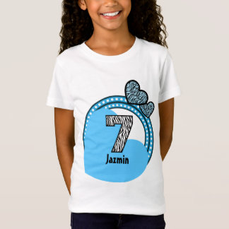 7th Birthday Gift Zebra Polka Dot Pattern V03C1 T-Shirt