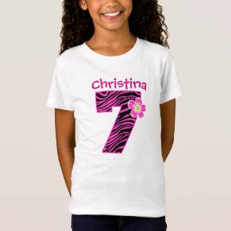 7th Birthday Girl Hot Pink & Black Zebra Pattern T-Shirt