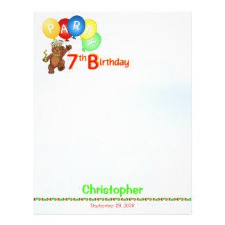 7th Birthday Party Royal Bear Scrapbook  Paper 1 21.5 Cm X 28 Cm Flyer