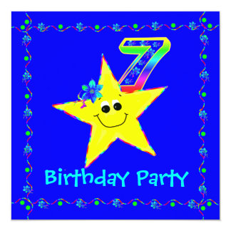 7th Birthday Party Smiley Stars Invitations