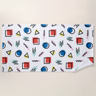 80's Memphis Abstract Style Beach Towel