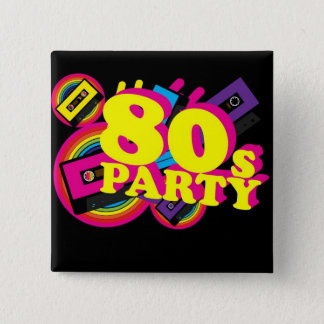 80s Party 15 Cm Square Badge