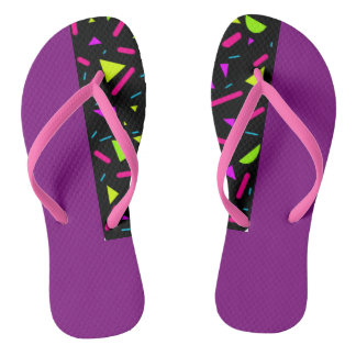 80's Retro Neon Custom Adult Slim Strap Flip Flops Thongs