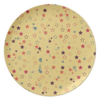80's Retro Star Pattern Plates