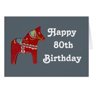Happy birthday julia greeting cards zazzle 80th birthday card with dala horse bookmarktalkfo Choice Image