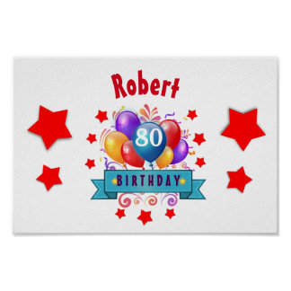 80th Birthday Festive Colorful Balloons C01HZ Poster