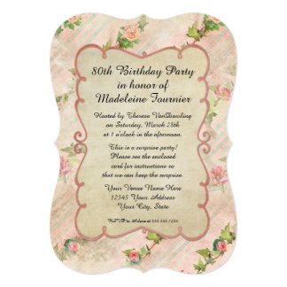 80th Birthday Party Scroll Frame w Vintage Roses Announcement
