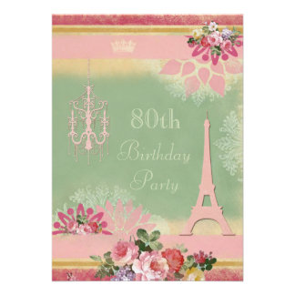 80th Birthday Pink Eiffel Tower and Chandelier Personalized Invite