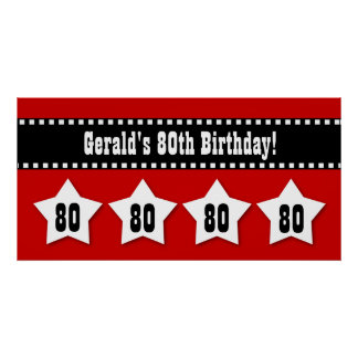 80th Birthday Red Black White Stars Banner V80S Poster