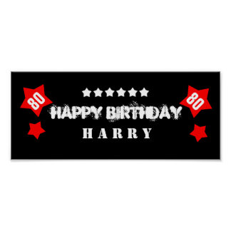 80th Birthday Star Banner Custom Name V80S STARS Poster