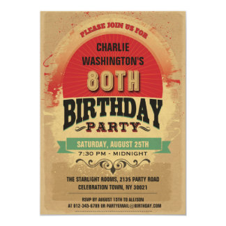 80th Birthday Vintage Typography Grunge 13 Cm X 18 Cm Invitation Card
