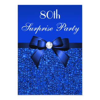 80th Surprise Party Royal Blue Sequins and Bow 13 Cm X 18 Cm Invitation Card