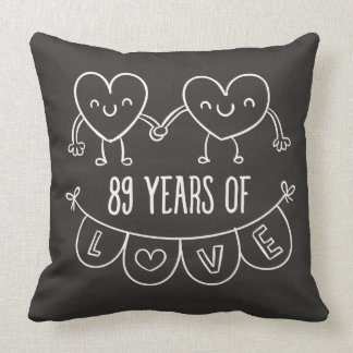 89th Anniversary Gift Chalk Hearts Throw Pillow