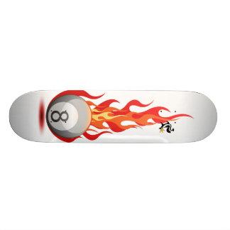 8 Ball On Fire On White 20 Cm Skateboard Deck
