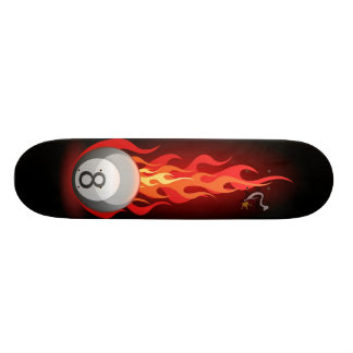 8 Ball On Fire Skateboard Deck