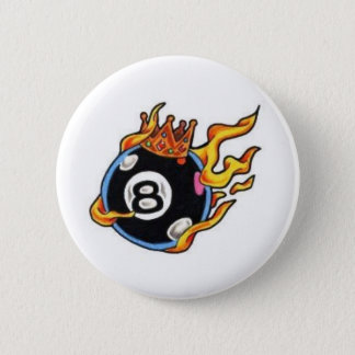 8 Ball with Flames 6 Cm Round Badge