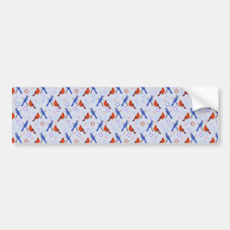 8-bit Bluejay Cardinal Pattern Bumper Sticker