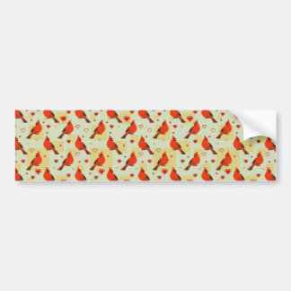 8-bit Hearts and Cardinals Pattern Bumper Sticker