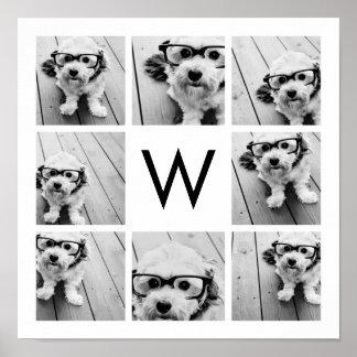 8 Photo Collage Custom Monogram Black and White Poster