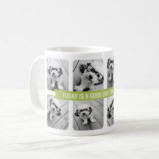 8 Photo Collage with Custom Text Ribbon - Green Coffee Mug
