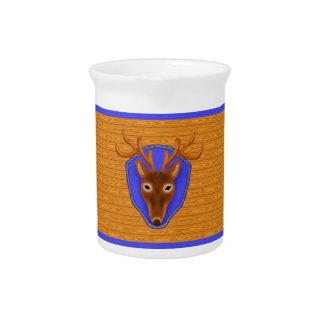 8-Point Buck Deer Hunting Trophy on Wood Grain Pitcher