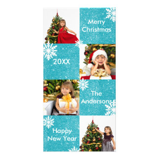 8 Squares Blue Glitter Snow - Christmas Photo Card
