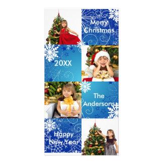 8 Squares Blue Snow Design - Christmas Photo Card