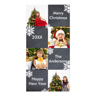8 Squares Chalkboard - Christmas Photo Card