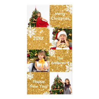 8 Squares Gold Glitter - Christmas Photo Card
