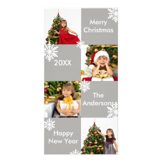 8 Squares Grey Snow - Christmas Photo Card