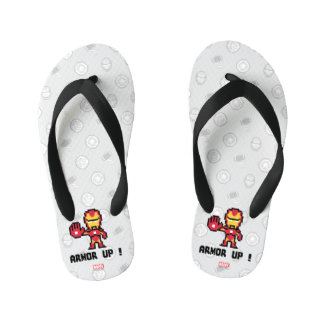 8Bit Iron Man - Armor Up! Kid's Jandals
