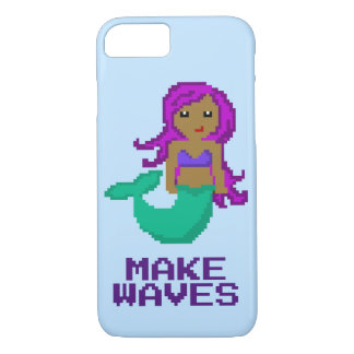 8Bit Pixel Geek Mermaid with Purple Hair iPhone 8/7 Case