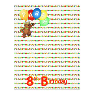 8th Birthday Party Royal Bear Scrapbook  Paper 3