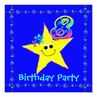 8th Birthday Party Smiley Stars Invitations