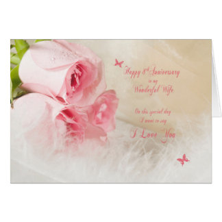 8th Wedding anniversary for wife with roses Card