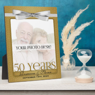 8x10 Golden 50th Wedding Anniversary Photo Frame Display Plaque