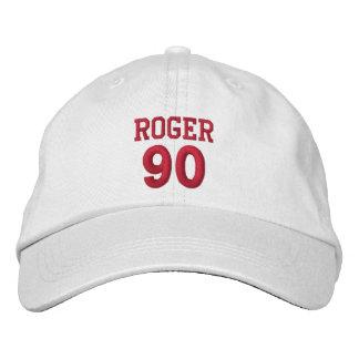 90 Birthday Custom Name Red Embroidery V19 Embroidered Baseball Caps