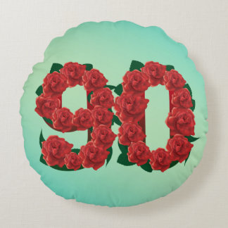 90 number birthday anniversary 90th red rose text round cushion