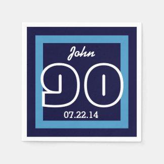 90th Birthday Modern Geometric V20 NAVY and WHITE Paper Napkin