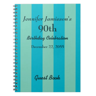 90th Birthday Party Guest Book Blue & Green Stripe Notebook