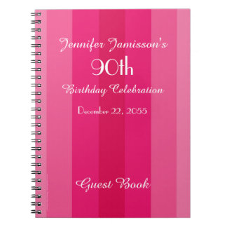 90th Birthday Party Guest Book Pink Stripe Note Books