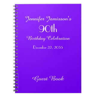 90th Birthday Party Guest Book Purple Solid Note Book
